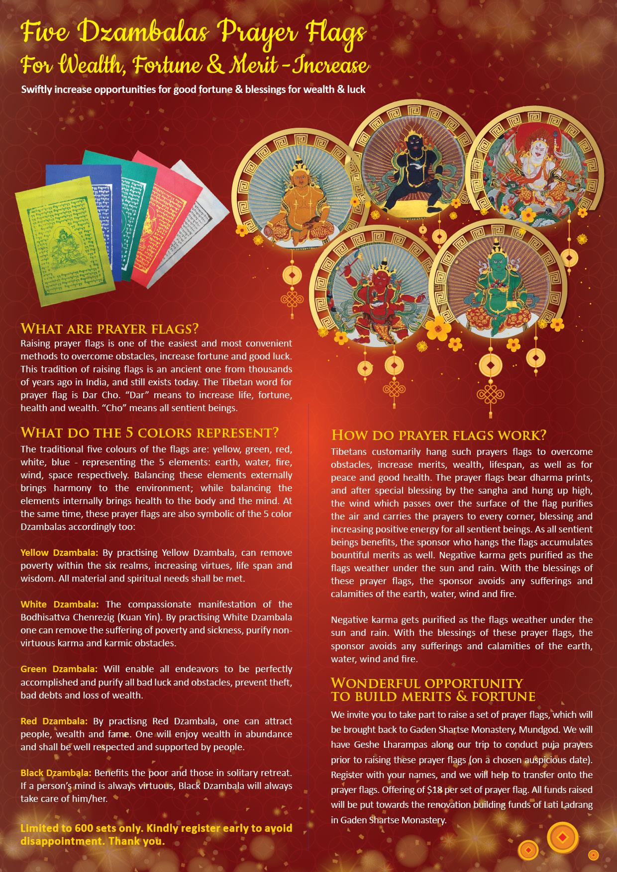 Five Dzambalas Prayer Flagsgaden Shartse Dro Phen Ling Gsdpl A